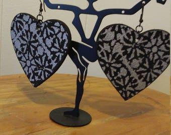 Beautiful, Heart shaped, Fabric Earrings