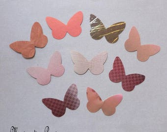 stickers Wings Butterfly silk 5 cm Brown harmony - set of 9 butterflies-romantic - Home decor, scrapbooking, cardmaking - made in France