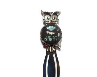 """Bookmark paper clip """"OWL""""/Papa/""""dad he is too cool"""" / Wonderland faby/gift/party / thanks"""