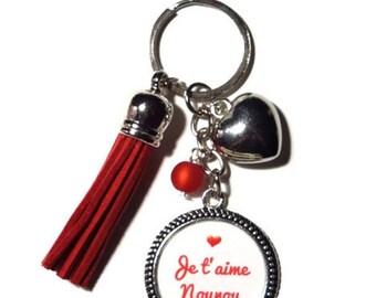 "Door keys, bag charm nanny/nanny gift ""I love you nanny"" / door key/Red"