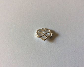 12 * 14MM 925 sterling silver infinity heart charm