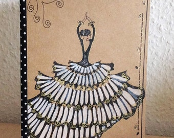 Notebook - hand painted woman - book illustrated book