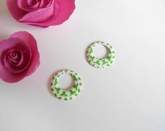 x 2 sequins white pattern green 18 mm