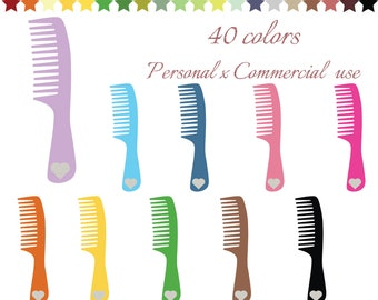 Hair comb clip art, Hair salon clipart haircut, Planner stickers, Hairdresser icon comb, Icon beauty salon, Heart glitter, Barber, CL-081