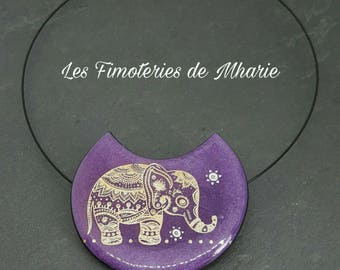 Polymer - cream mica collection - elephant pendant