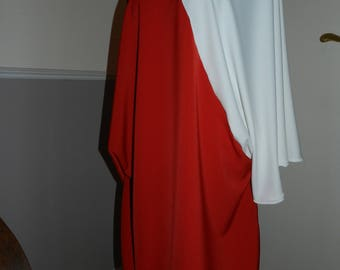 Dress plus size red and white