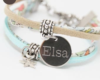 Child girl Liberty Betsy Ann blue green bracelet