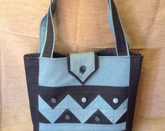 Light denim and dark denim tote bag.
