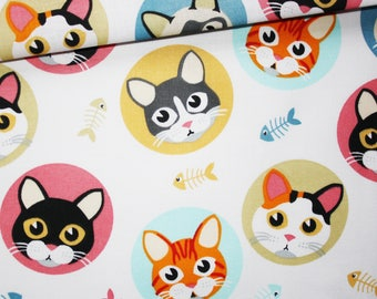 Cats, 100% cotton fabric printed 50 x 160 cm, coloured on white cat heads
