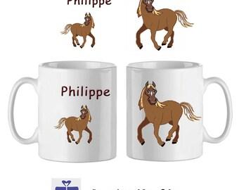 Mug ceramic horse with a name (ex. Philippe)