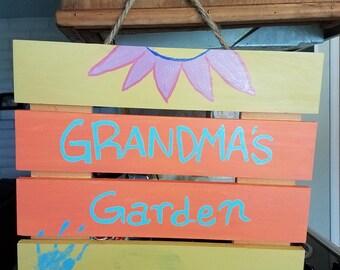 Grandma's Garden Hanging sign