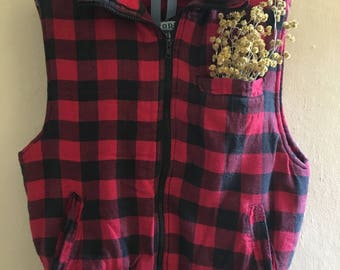 Vintage Ozark Trail Gingham Flannel Puffy Vest