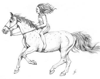 Girl Riding A Horse - Pencil Drawing -  Bareback Riding - Rope Halter - Canter - Printable Art - Horse Print - Horsemanship - Download