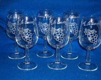 Set of 6 glasses Inao engraved and personalized