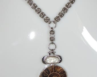 Steel with Ammonite pendant necklace
