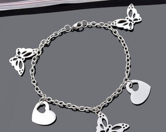 Heart Butterfly 316L stainless steel chain bracelet adjustable 22cm