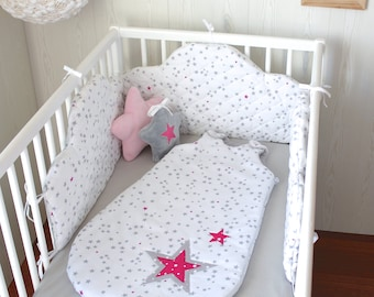 Sleeping bag 6 to 20 months attached to the Crib bumper gray and pink stars