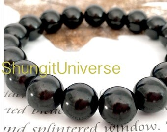 Shungite bracelet big 10mm beads, EMF protection, Healing stone, Healing crystal, Shungite jewelry,Natural stone Elite shungite,Best present