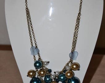 Set Pearl tones blue beige and Brown glazed, bronze chain necklace and earrings