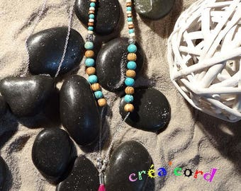 necklaces necklace turquoise bead and feather