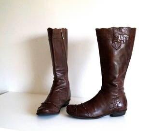 BRAKO womens boots Eu 38 UK 5 US 7,5 Genuine leather womens boots Brown leather knee hight boots Tall Boots Low heel riding boots