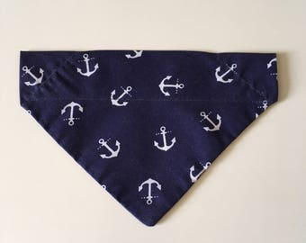 Nautical Anchor Print Navy Blue & White Bandana
