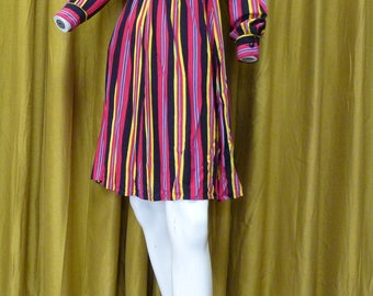 Vintage Striped Petri of Sweden Dress, Long Sleeved, Knee-Length, Bold Colours, Size M