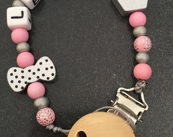 personalized pacifier clip girl