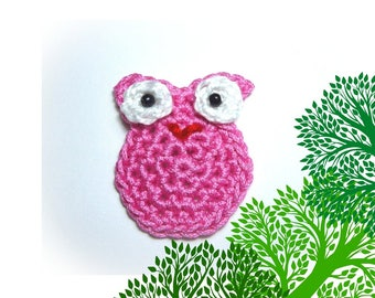 applied little pink OWL handmade crochet