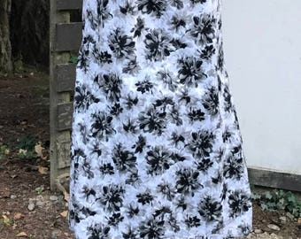 Cowl Dress with Straight Skirt - Black and White Floral Print