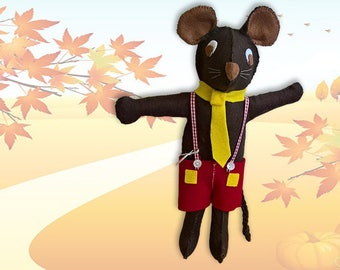 Mattie Mouse - Handcrafted Felt Doll