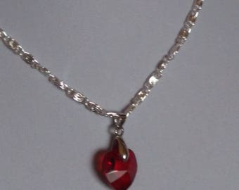 Beautiful Swarovski red siam Heart Necklace
