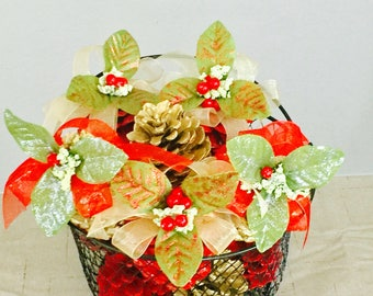 A Basket of Decorative Pine Cones