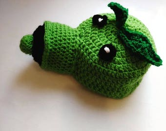 Pea Shooter Inspired crochet hat Plants vs. Zombies children's character hats dress up hat Halloween costume winter beanie earflap hat
