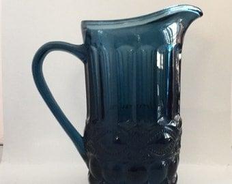 Vintage Blue Glass Pitcher, Eyewinker Pitcher, Mosser Glass, Lemonade Pitcher, Iced Tea