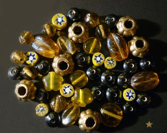 46 Indian glass, millefiori and gold resin beads