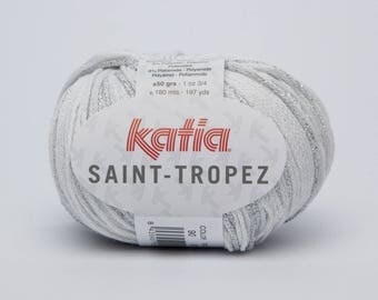 Wool Katia SAINT TROPEZ - color 90 white silver - needles 4/4.5
