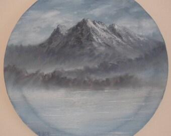Mountain Lake Original Oil Painting