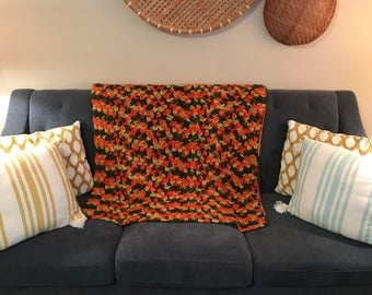 Retro Afghan crocheted blanket