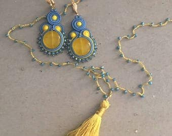 PARURE - Long necklace with silk crown with nappina and pair of earrings