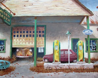 Oil Painting Gas Station Kaiser Frazer Dealer