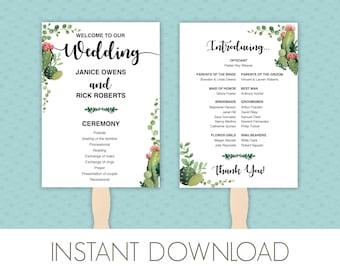 Succulents Wedding Program Fan Template PDF Printable