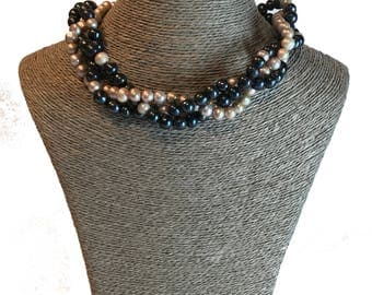 Pearl Necklace, Handmade Pearl Necklace, Freshwater Pearl Necklace, Real Pearl Necklace, Statement Necklace, Triple Strand Necklace,