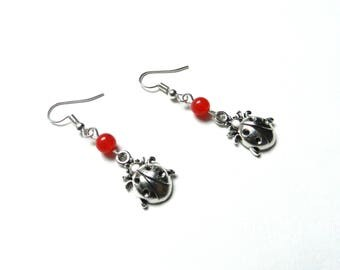Earrings, charm, ladybug, beads, red, little girl