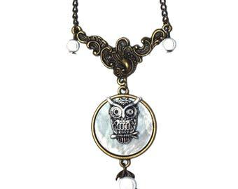 Moonlight kelva necklace OWL pendant necklace