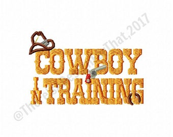 Cowboy embroidery design, cowboy in training embroidery design, cowboy hat horseshoe gun embroidery design