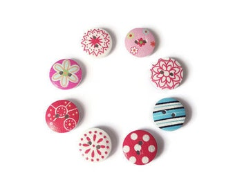 Multi patterns x 8 wooden buttons
