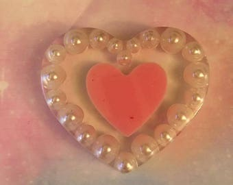 Floating Pearl Heart Charm