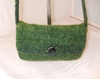 Green felted wool pouch