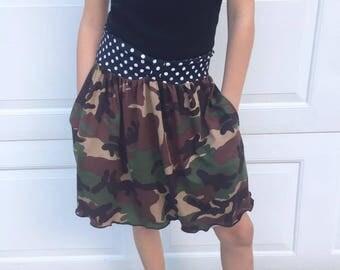 Girls Camo Pocket Skirt, back to school skirt